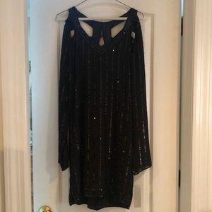 Sara Boo black sequin sheath long sleeve dress